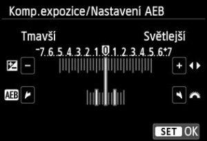Tanto vypadá nastavení expozičního bracketingu u Canonů - musíte se dopátrat zkratky AEB - Auto Exposure Bracketing. A pak ovládacím kolečkem určit, jak rozdílně exponované mají obrázky být (= jak rozdílné jsou.)