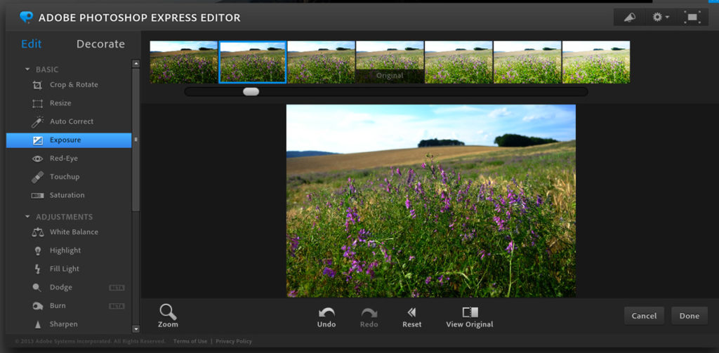 Adobe Photoshop Express Editor