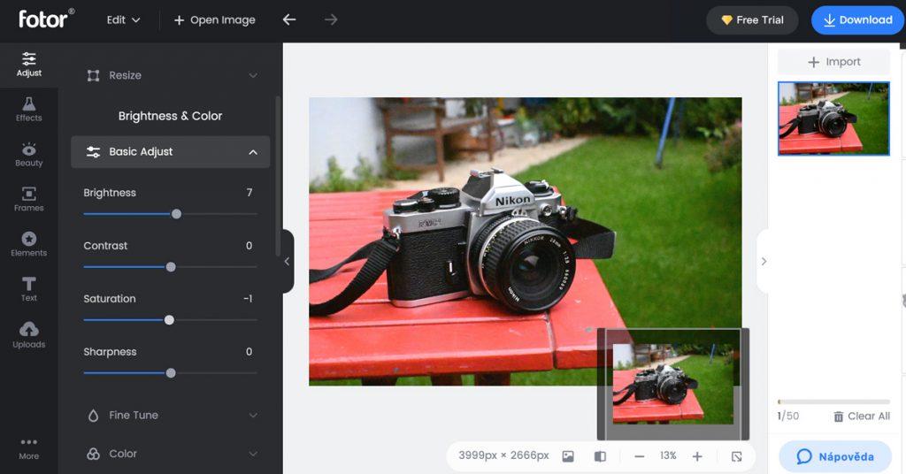Fotor - úpravy fotek online