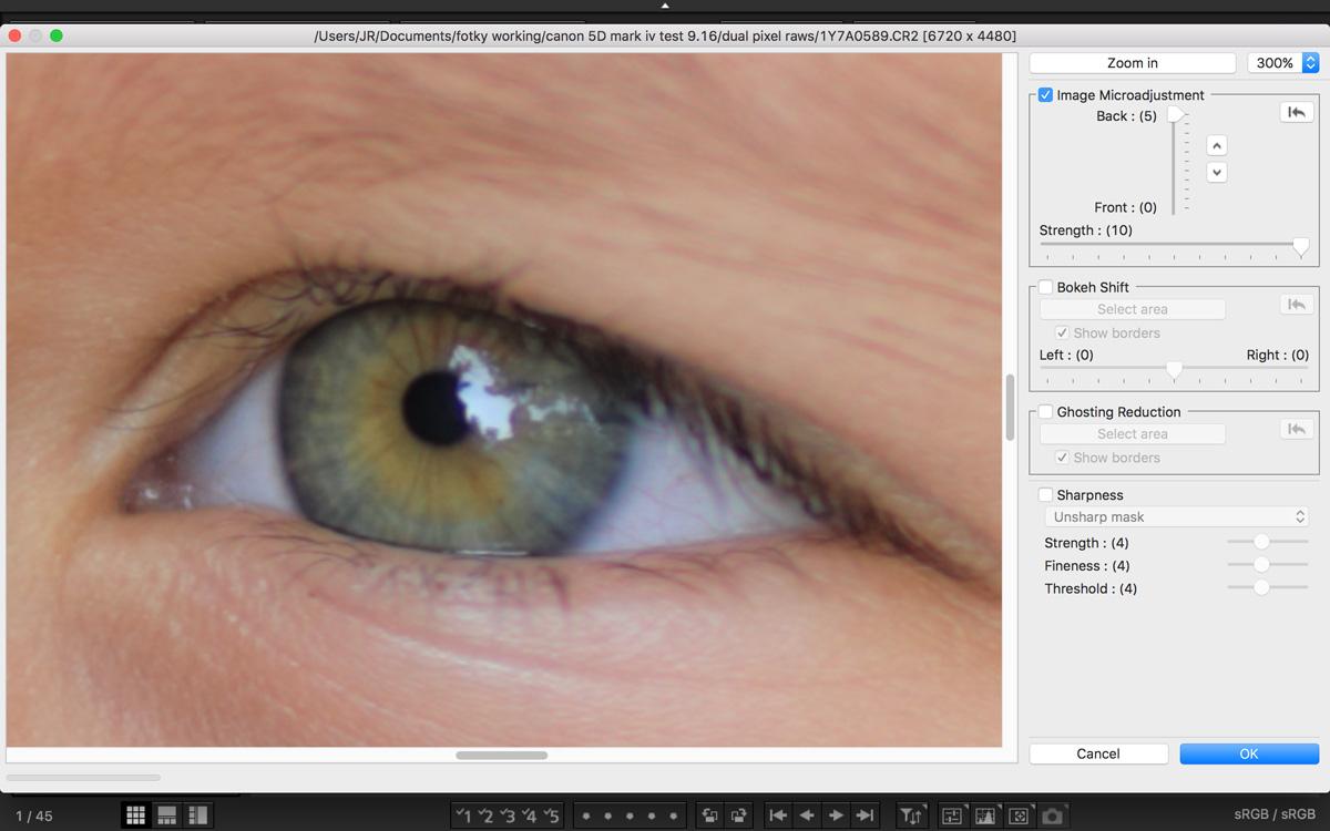 dual pixel microadjustment