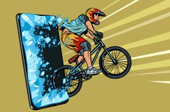 Cyklista a mobil