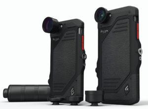 Na mobilu je třeba mít speciální (a poměrně praktický) kryt, do něhož se objektivy zacvakávají. Tubus služí ke skladování objektivů i jako rukojeť nasaditelná na kryt. Foto: iProLens.com