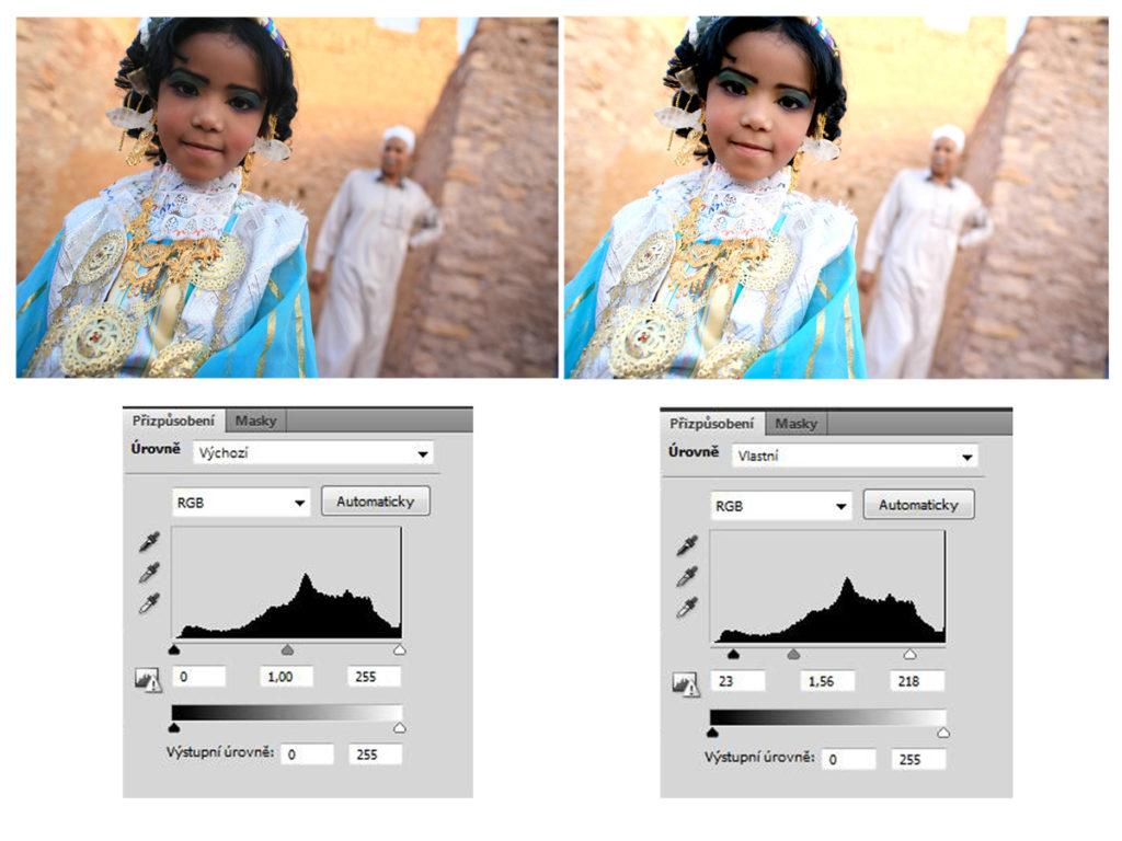 Na této fotce vidíte kouzlo úrovní v praxi. Nalevo je neupravená fotka z Libye, expozičně velmi složitá. Napravo je fotka upravená - k úpravě stačilo jediné, mírně pohnout třemi trojúhelníčky na dolní hraně histogramu - na spodních obrázcích můžete porovnat, jak nepatrně změnily svoji polohu. Zkuste to případně taky - zde na tomto linku si můžete stáhnout v plném rozlišení neupravenou fotku a zkusit to samé.