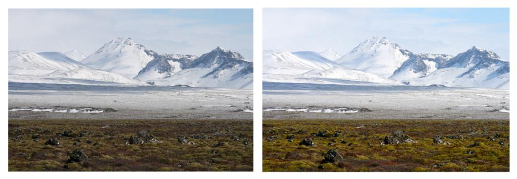 Sytost případně život patří k šoupátkům, které je prostě škoda nepoužívat. Fotka nalevo (z Islandu) se moc nepovedla - úpravou úrovní a přidáním sytosti ji dokážeme dost pomoci.